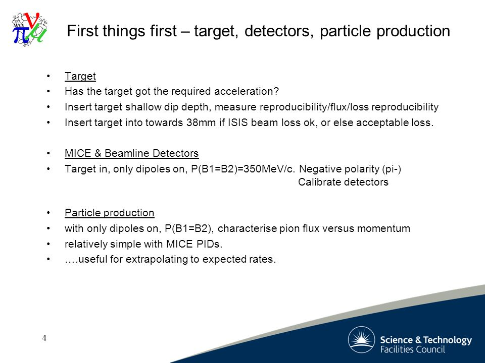 4 4 First things first – target, detectors, particle production Target Has the target got the required acceleration.