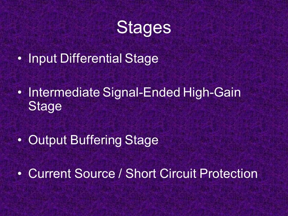 Stages Input Differential Stage Intermediate Signal-Ended High-Gain Stage Output Buffering Stage Current Source / Short Circuit Protection