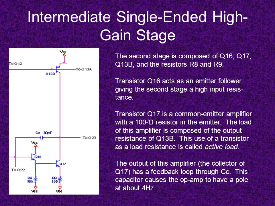 Intermediate Single-Ended High- Gain Stage The second stage is composed of Q16, Q17, Q13B, and the resistors R8 and R9. Transistor Q16 acts as an emit