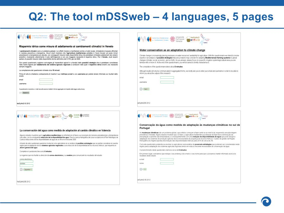 Q2: The tool mDSSweb – 4 languages, 5 pages