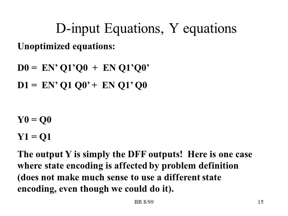 BR 8/9915 D-input Equations, Y equations D0 = EN' Q1'Q0 + EN Q1'Q0' D1 = EN' Q1 Q0' + EN Q1' Q0 Y0 = Q0 Y1 = Q1 The output Y is simply the DFF outputs