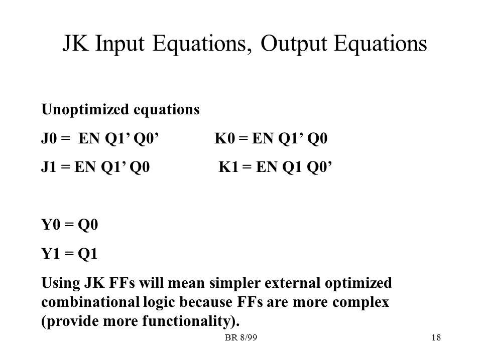 BR 8/9918 JK Input Equations, Output Equations Unoptimized equations J0 = EN Q1' Q0' K0 = EN Q1' Q0 J1 = EN Q1' Q0 K1 = EN Q1 Q0' Y0 = Q0 Y1 = Q1 Usin