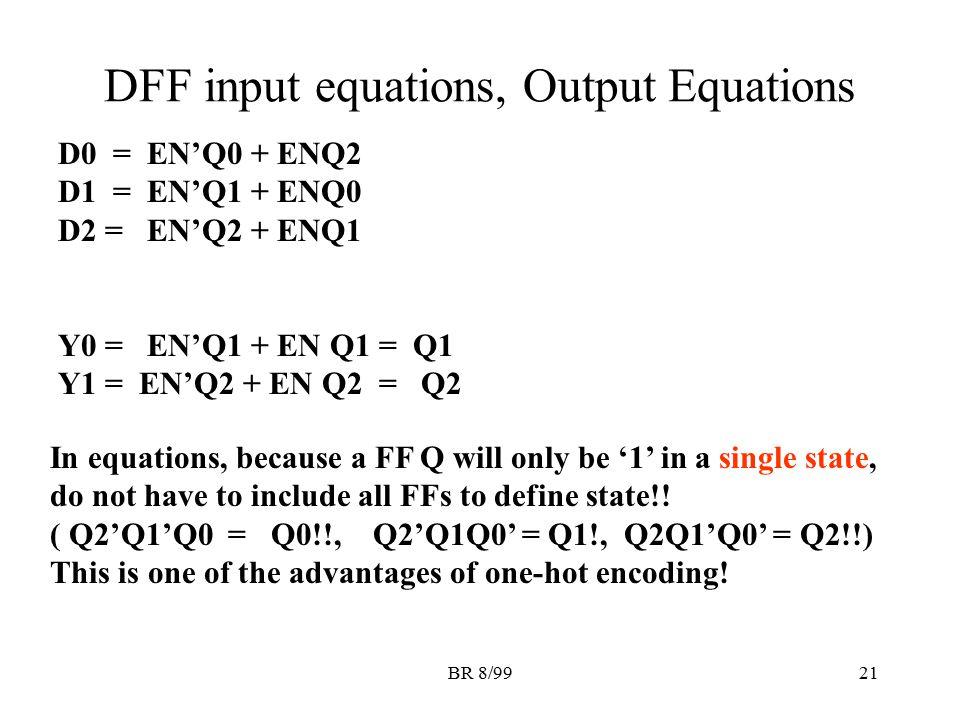 BR 8/9921 DFF input equations, Output Equations D0 = EN'Q0 + ENQ2 D1 = EN'Q1 + ENQ0 D2 = EN'Q2 + ENQ1 Y0 = EN'Q1 + EN Q1 = Q1 Y1 = EN'Q2 + EN Q2 = Q2