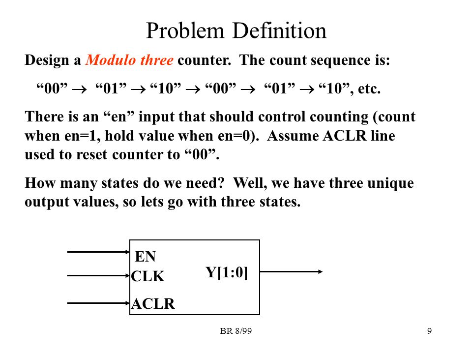"""BR 8/999 Problem Definition Design a Modulo three counter. The count sequence is: """"00""""  """"01""""  """"10""""  """"00""""  """"01""""  """"10"""", etc. There is an """"en"""" input"""