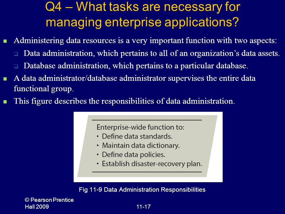 © Pearson Prentice Hall 200911-17 Q4 – What tasks are necessary for managing enterprise applications? Fig 11-9 Data Administration Responsibilities Ad