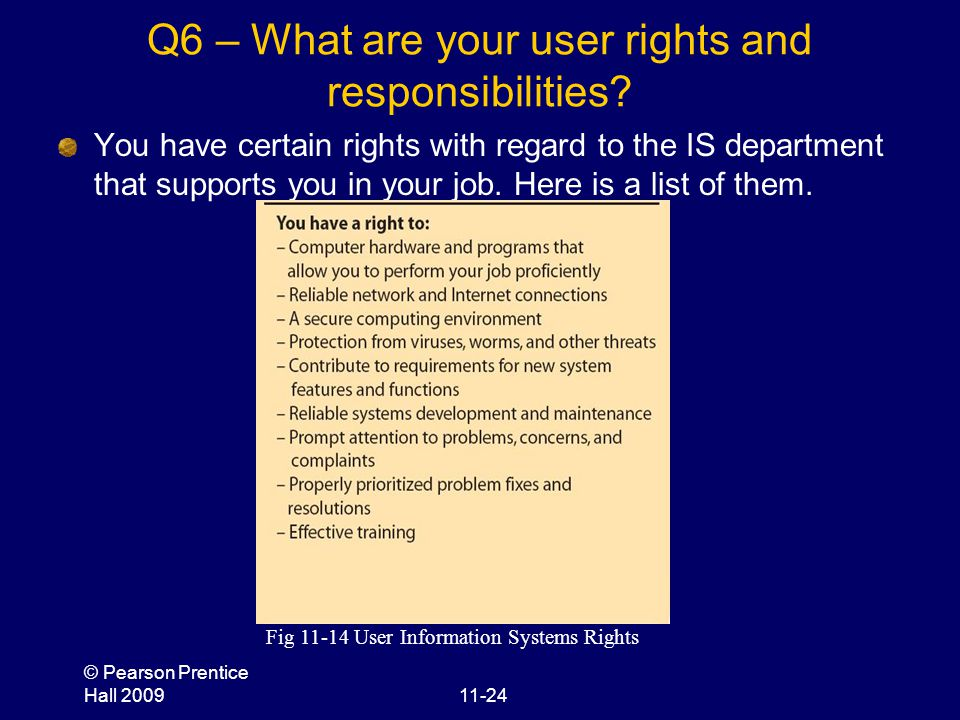 © Pearson Prentice Hall 200911-24 Q6 – What are your user rights and responsibilities? You have certain rights with regard to the IS department that s
