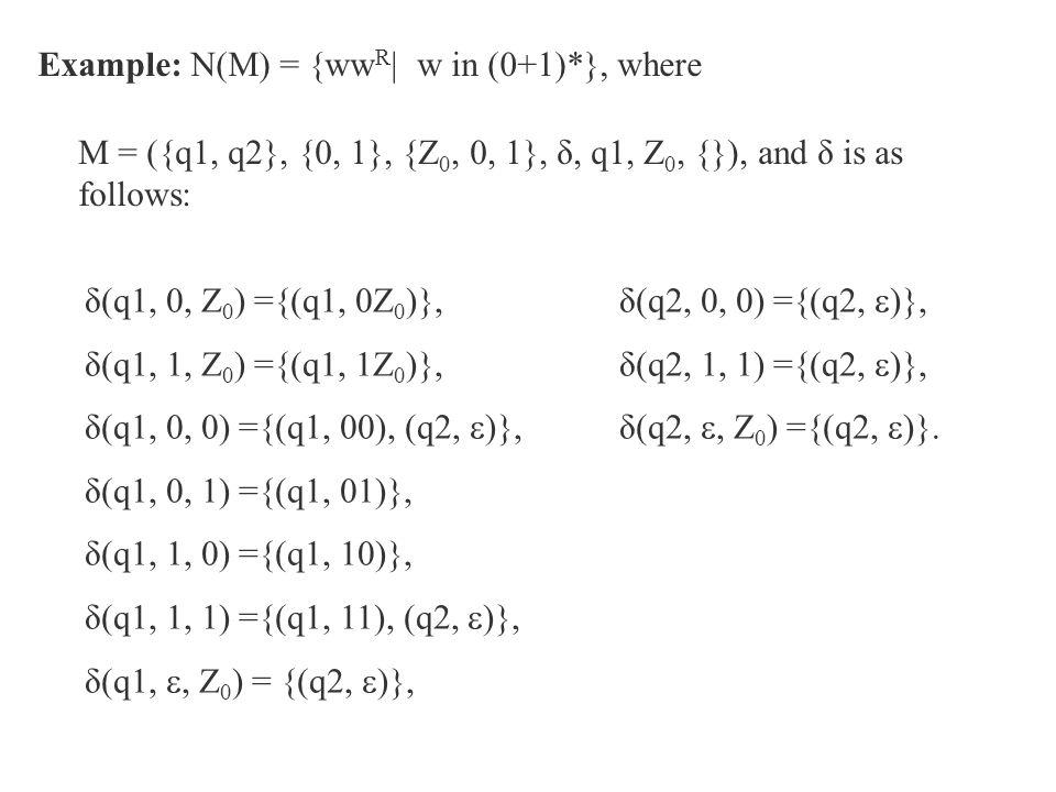 Example: N(M) = {ww R | w in (0+1)*}, where M = ({q1, q2}, {0, 1}, {Z 0, 0, 1}, δ, q1, Z 0, {}), and δ is as follows: δ(q1, 0, Z 0 ) ={(q1, 0Z 0 )}, δ