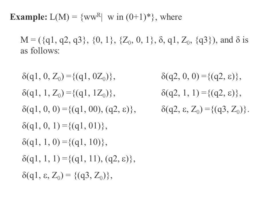 Example: L(M) = {ww R | w in (0+1)*}, where M = ({q1, q2, q3}, {0, 1}, {Z 0, 0, 1}, δ, q1, Z 0, {q3}), and δ is as follows: δ(q1, 0, Z 0 ) ={(q1, 0Z 0