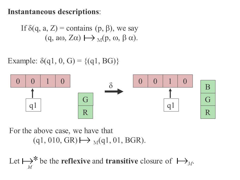 Instantaneous descriptions: Example: δ(q1, 0, G) = {(q1, BG)} 010 q1 G R 0010 G R 0 B δ If δ(q, a, Z) = contains (p,  ), we say (q, a , Z  ) M (p,