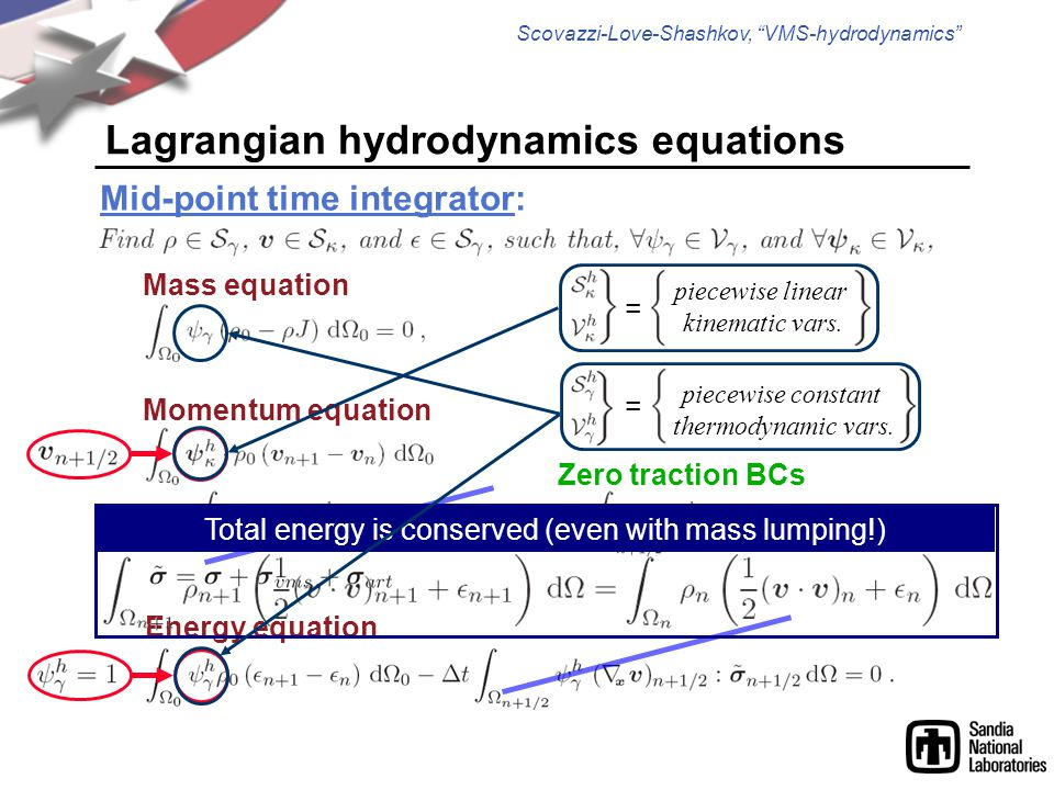 Scovazzi-Love-Shashkov, VMS-hydrodynamics Momentum equation Energy equation Lagrangian hydrodynamics equations Mid-point time integrator: Zero traction BCs Total energy is conserved (even with mass lumping!) Mass equation = piecewise linear kinematic vars.