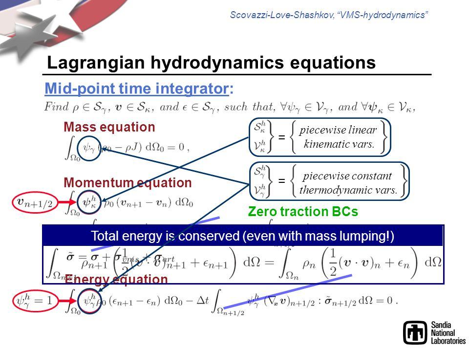 "Scovazzi-Love-Shashkov, ""VMS-hydrodynamics"" Momentum equation Energy equation Lagrangian hydrodynamics equations Mid-point time integrator: Zero tract"