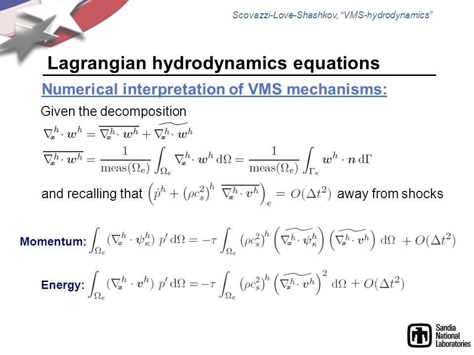 Scovazzi-Love-Shashkov, VMS-hydrodynamics Lagrangian hydrodynamics equations Numerical interpretation of VMS mechanisms: Given the decomposition and recalling thataway from shocks Energy: Momentum: