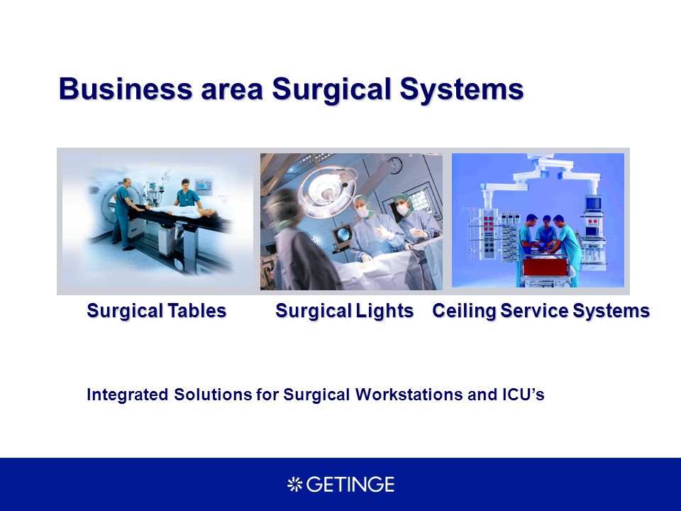 Business area Surgical Systems Surgical Lights Surgical Tables Ceiling Service Systems Ceiling Service Systems Integrated Solutions for Surgical Works