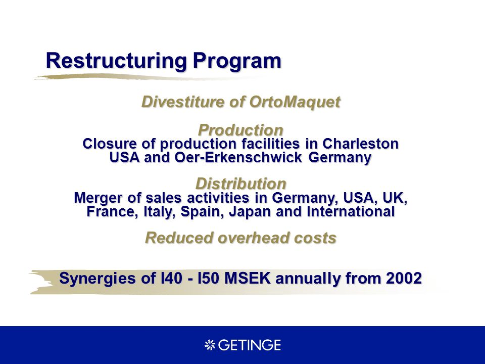 Production Closure of production facilities in Charleston USA and Oer-Erkenschwick Germany Distribution Merger of sales activities in Germany, USA, UK
