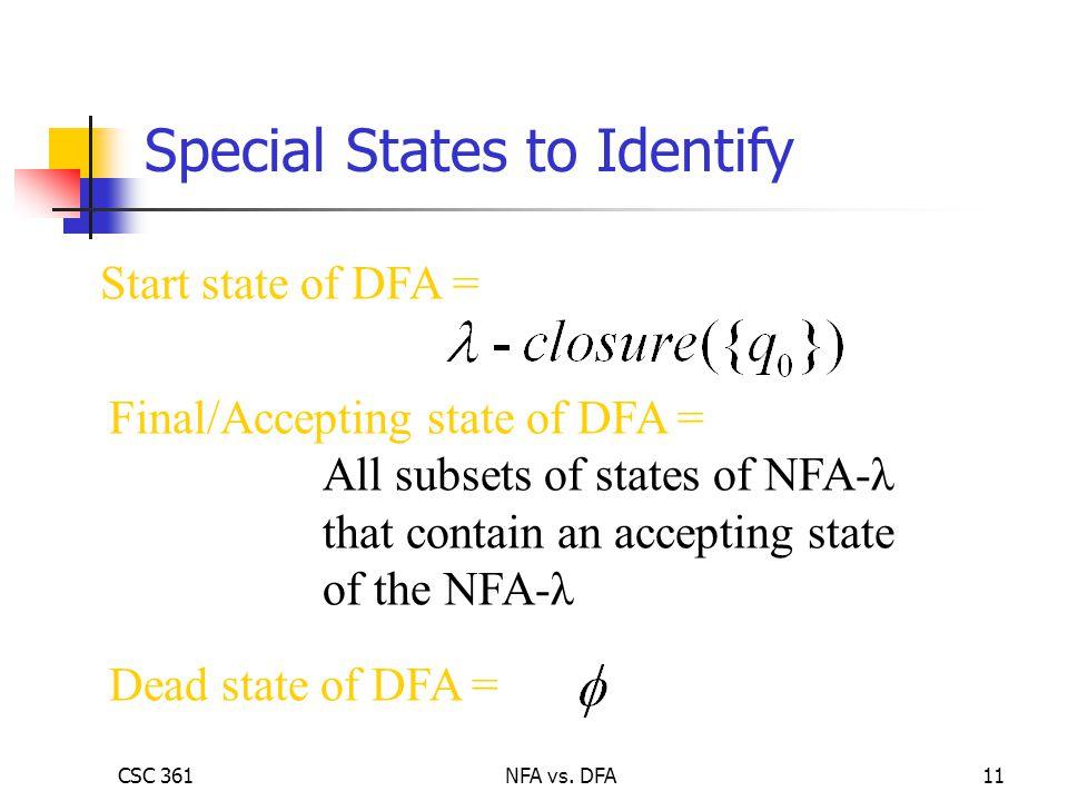 CSC 361NFA vs. DFA11 Start state of DFA = Final/Accepting state of DFA = All subsets of states of NFA-λ that contain an accepting state of the NFA-λ D