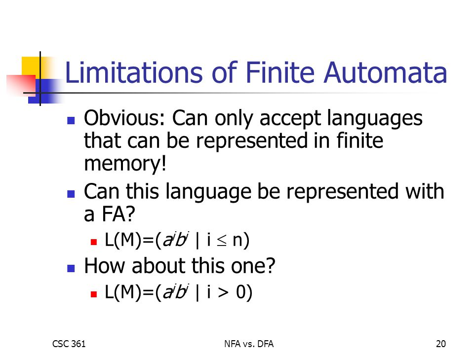 CSC 361NFA vs. DFA20 Limitations of Finite Automata Obvious: Can only accept languages that can be represented in finite memory! Can this language be