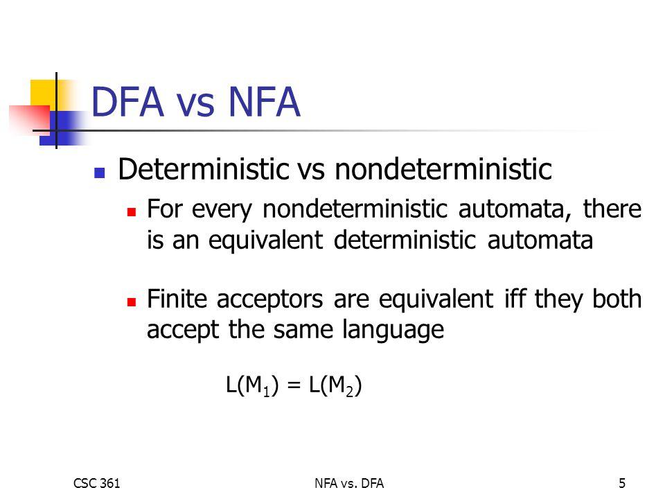 CSC 361NFA vs. DFA5 DFA vs NFA Deterministic vs nondeterministic For every nondeterministic automata, there is an equivalent deterministic automata Fi
