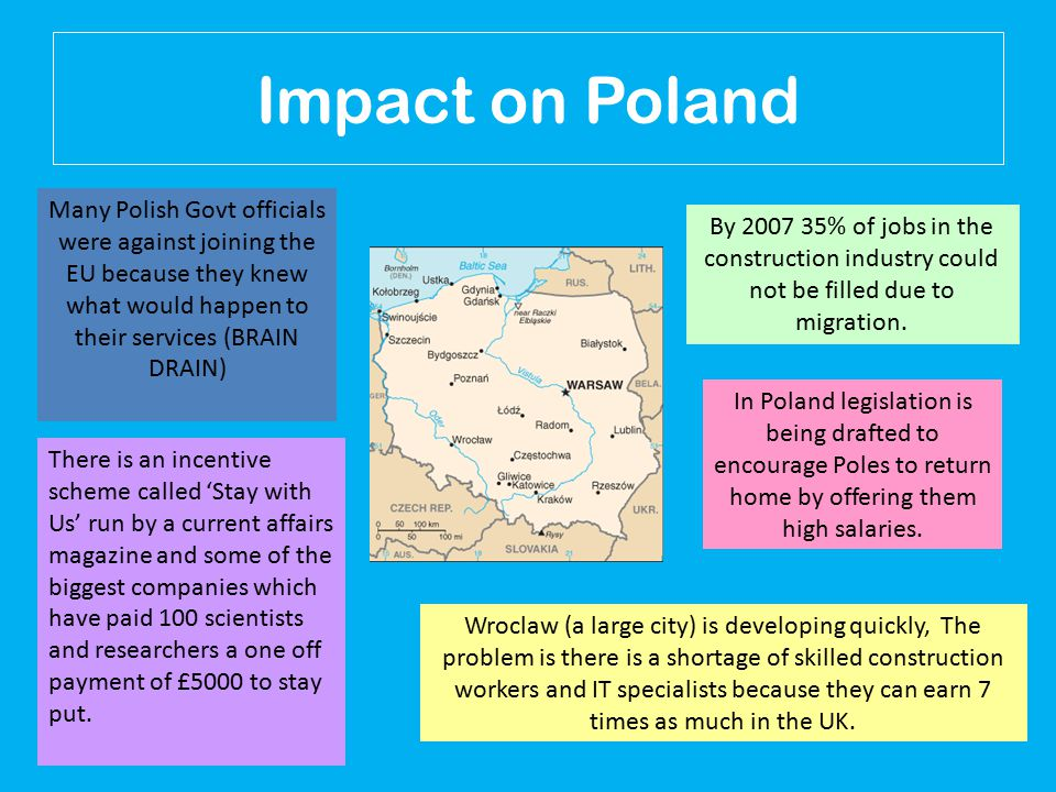 Impact on Poland In Poland legislation is being drafted to encourage Poles to return home by offering them high salaries.