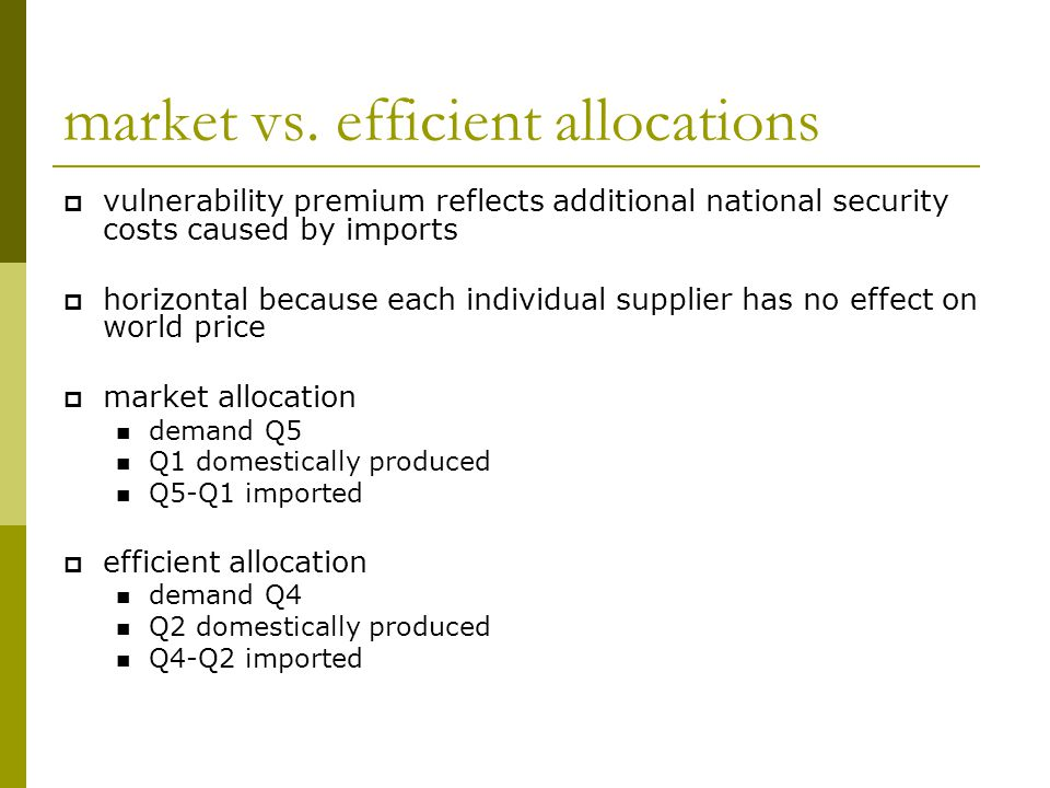 market vs. efficient allocations  vulnerability premium reflects additional national security costs caused by imports  horizontal because each indiv