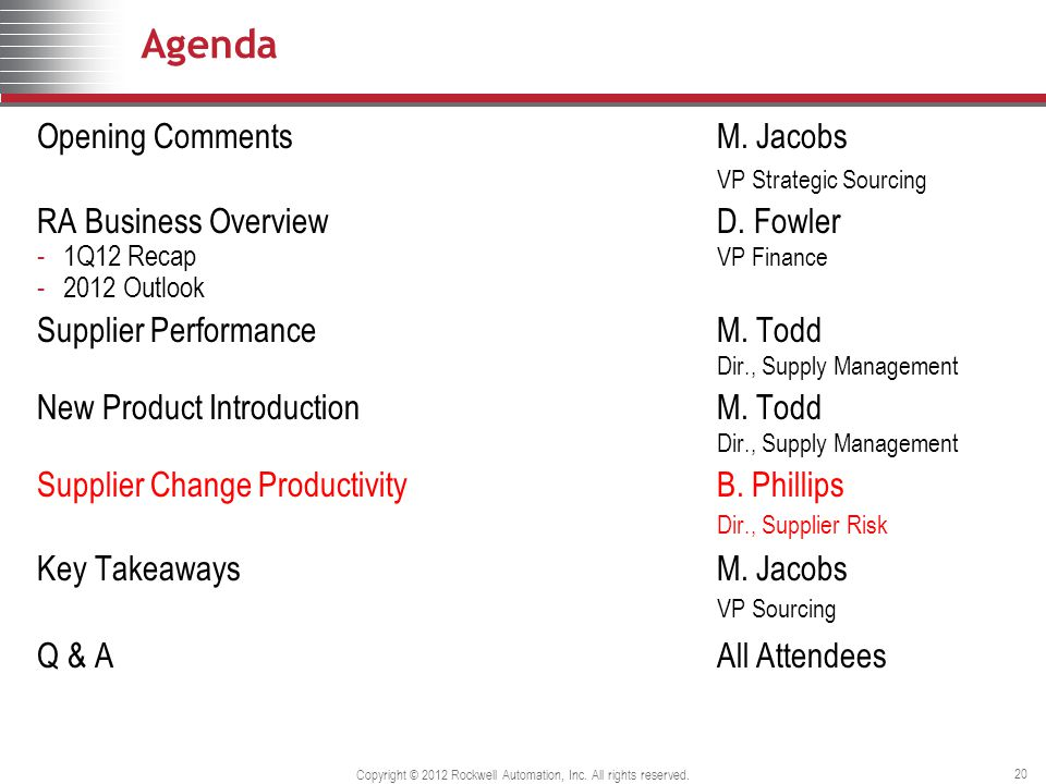 20 Agenda Opening Comments M. Jacobs VP Strategic Sourcing RA Business OverviewD.