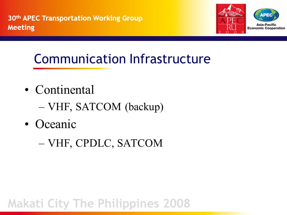 Communication Infrastructure Makati City The Philippines 2008 30 th APEC Transportation Working Group Meeting Continental –VHF, SATCOM (backup) Oceanic –VHF, CPDLC, SATCOM
