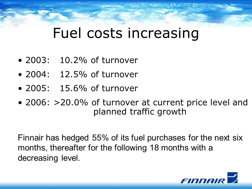 2003: 10.2% of turnover 2004: 12.5% of turnover 2005: 15.6% of turnover 2006: >20.0% of turnover at current price level and planned traffic growth Finnair has hedged 55% of its fuel purchases for the next six months, thereafter for the following 18 months with a decreasing level.