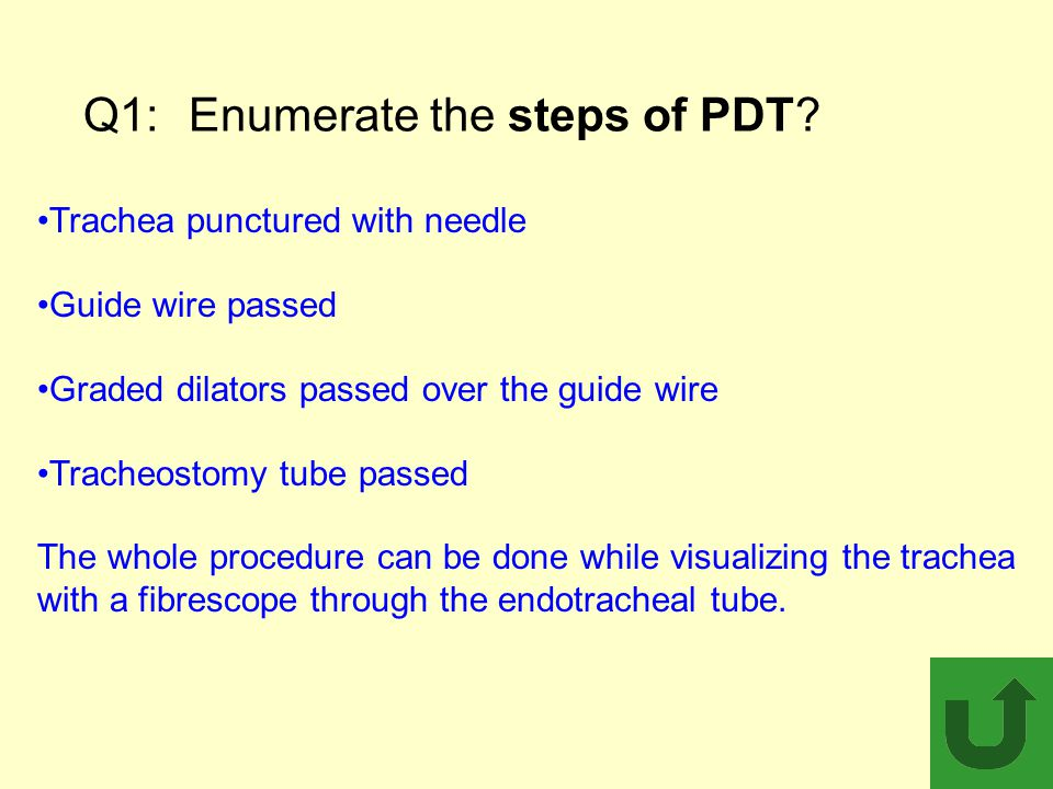 Q1:Enumerate the steps of PDT? Trachea punctured with needle Guide wire passed Graded dilators passed over the guide wire Tracheostomy tube passed The