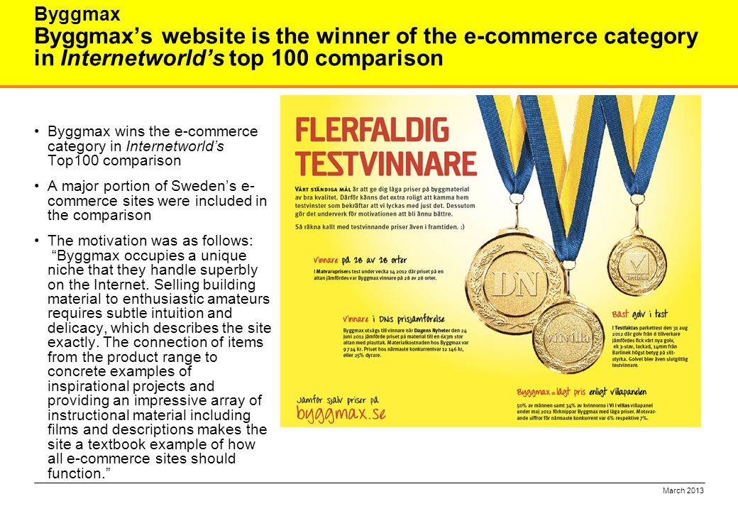 Byggmax's website is the winner of the e-commerce category in Internetworld's top 100 comparison Byggmax wins the e-commerce category in Internetworld