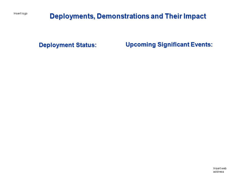 Deployment Status: Upcoming Significant Events: Insert web address Insert logo Deployments, Demonstrations and Their Impact