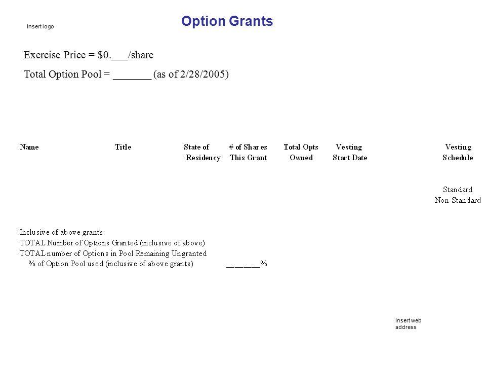 Option Grants Exercise Price = $0.___/share Total Option Pool = _______ (as of 2/28/2005) Insert web address Insert logo