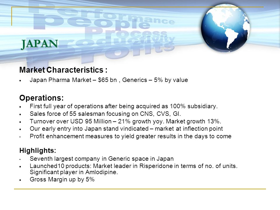 JAPAN Market Characteristics :  Japan Pharma Market – $65 bn, Generics – 5% by value Operations:  First full year of operations after being acquired as 100% subsidiary.