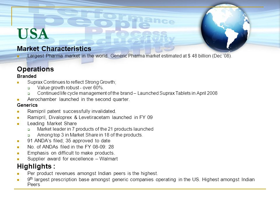 USA Market Characteristics Largest Pharma market in the world.