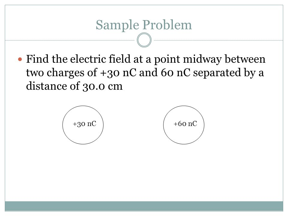 Sample Problem Find the electric field at a point midway between two charges of +30 nC and 60 nC separated by a distance of 30.0 cm +30 nC+60 nC