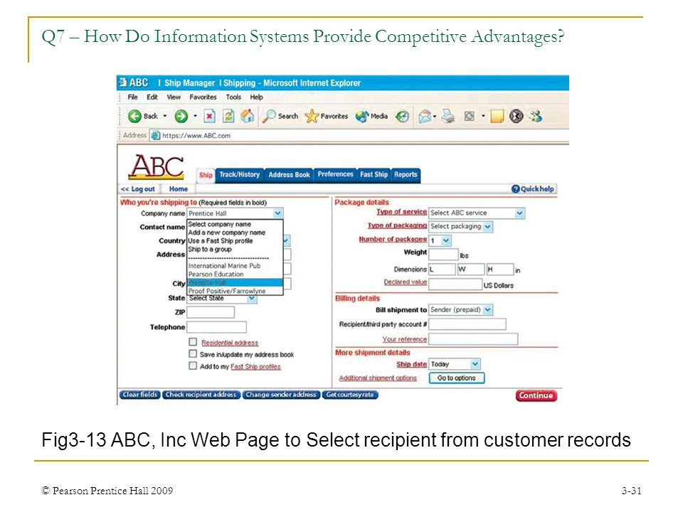 © Pearson Prentice Hall 20093-31 Fig3-13 ABC, Inc Web Page to Select recipient from customer records Q7 – How Do Information Systems Provide Competiti