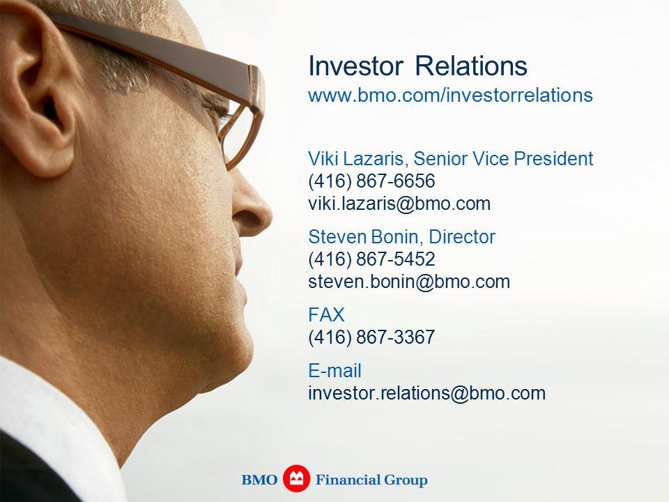 Investor Relations www.bmo.com/investorrelations Viki Lazaris, Senior Vice President (416) 867-6656 viki.lazaris@bmo.com Steven Bonin, Director (416) 867-5452 steven.bonin@bmo.com FAX (416) 867-3367 E-mail investor.relations@bmo.com