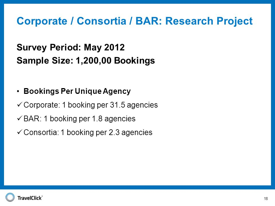 Bookings Per Unique Agency Corporate: 1 booking per 31.5 agencies BAR: 1 booking per 1.8 agencies Consortia: 1 booking per 2.3 agencies Corporate / Consortia / BAR: Research Project Survey Period: May 2012 Sample Size: 1,200,00 Bookings 18