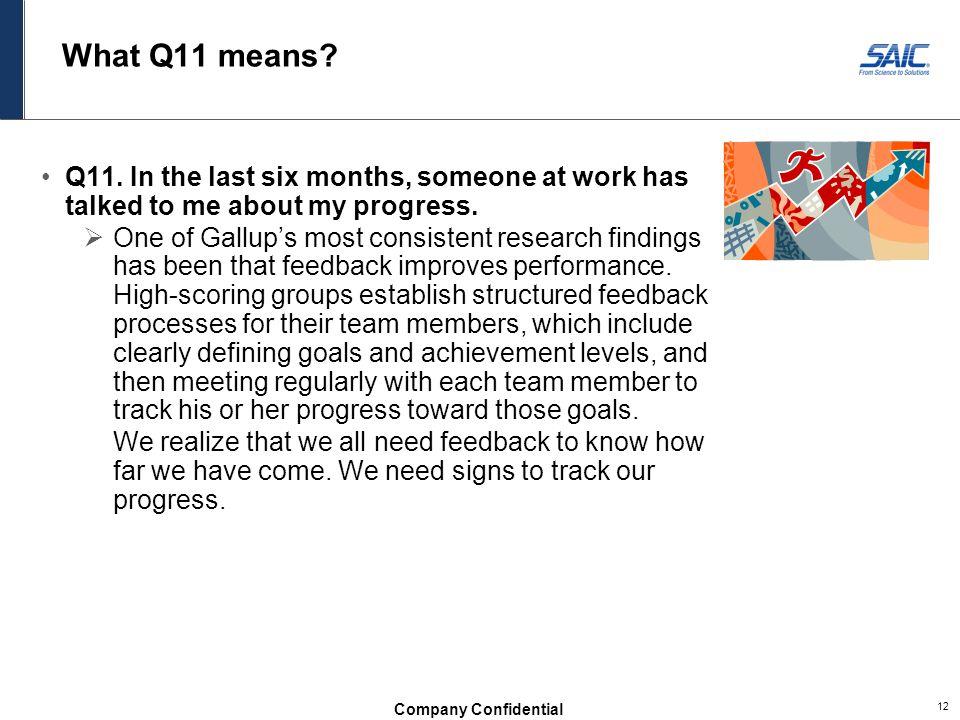 Company Confidential 12 What Q11 means.Q11.
