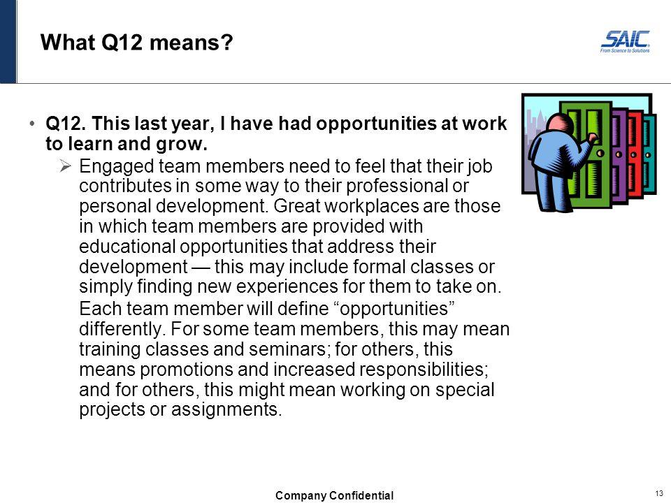 Company Confidential 13 What Q12 means.Q12.