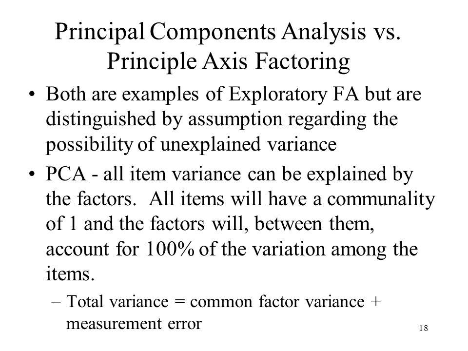 18 Principal Components Analysis vs.