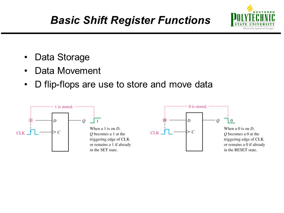 Basic Shift Register Functions Data Storage Data Movement D flip-flops are use to store and move data