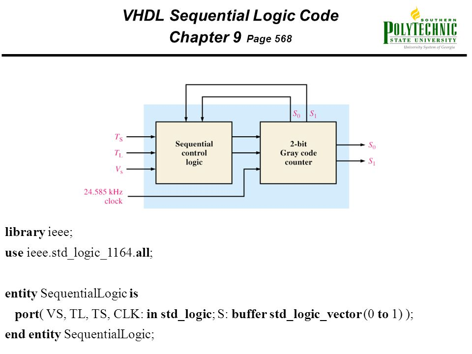 VHDL Sequential Logic Code Chapter 9 Page 568 library ieee; use ieee.std_logic_1164.all; entity SequentialLogic is port( VS, TL, TS, CLK: in std_logic