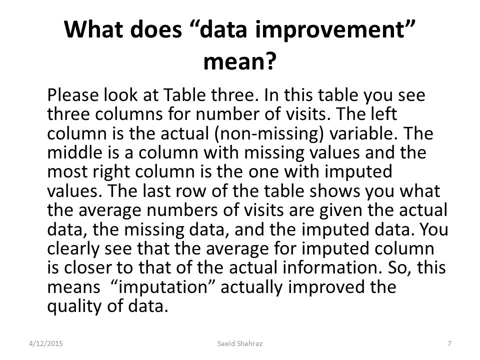 "What does ""data improvement"" mean? Please look at Table three. In this table you see three columns for number of visits. The left column is the actual"