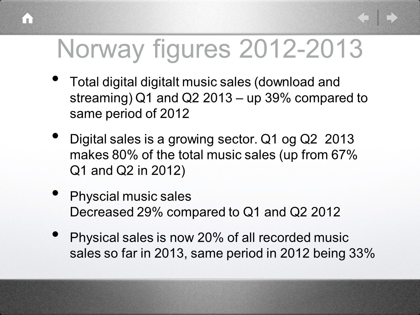 Norway figures 2012-2013 Total digital digitalt music sales (download and streaming) Q1 and Q2 2013 – up 39% compared to same period of 2012 Digital s