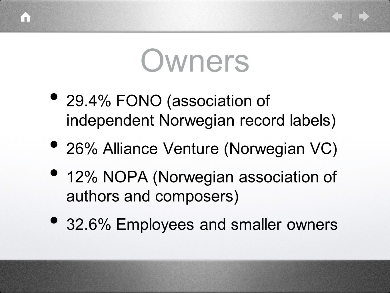 Owners 29.4% FONO (association of independent Norwegian record labels) 26% Alliance Venture (Norwegian VC) 12% NOPA (Norwegian association of authors and composers) 32.6% Employees and smaller owners
