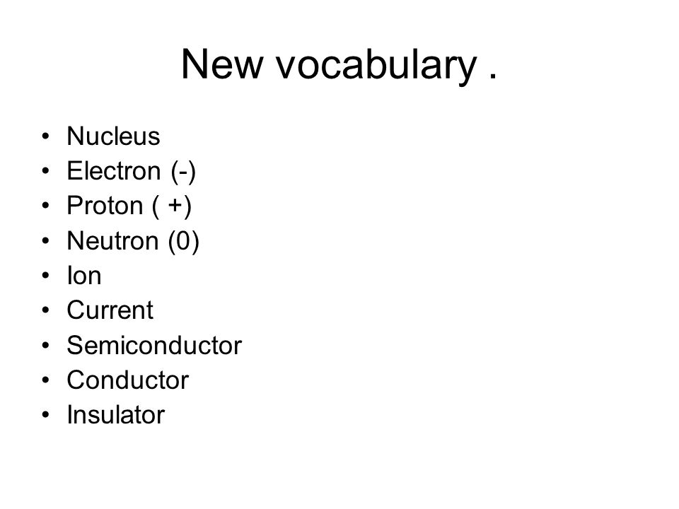 New vocabulary. Nucleus Electron (-) Proton ( +) Neutron (0) Ion Current Semiconductor Conductor Insulator