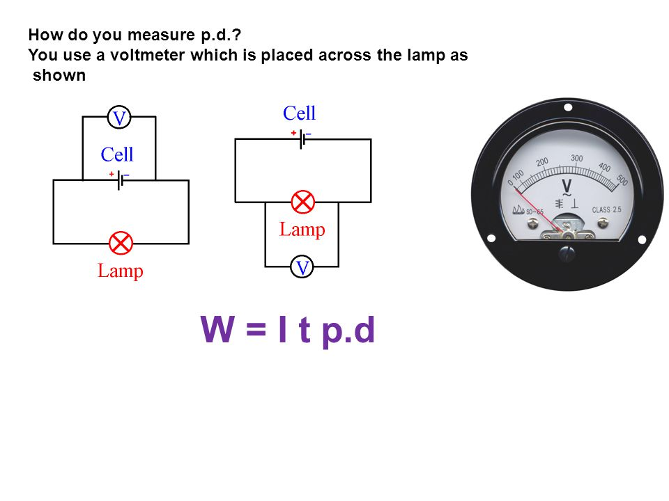 How do you measure p.d.? You use a voltmeter which is placed across the lamp as shown W = I t p.d