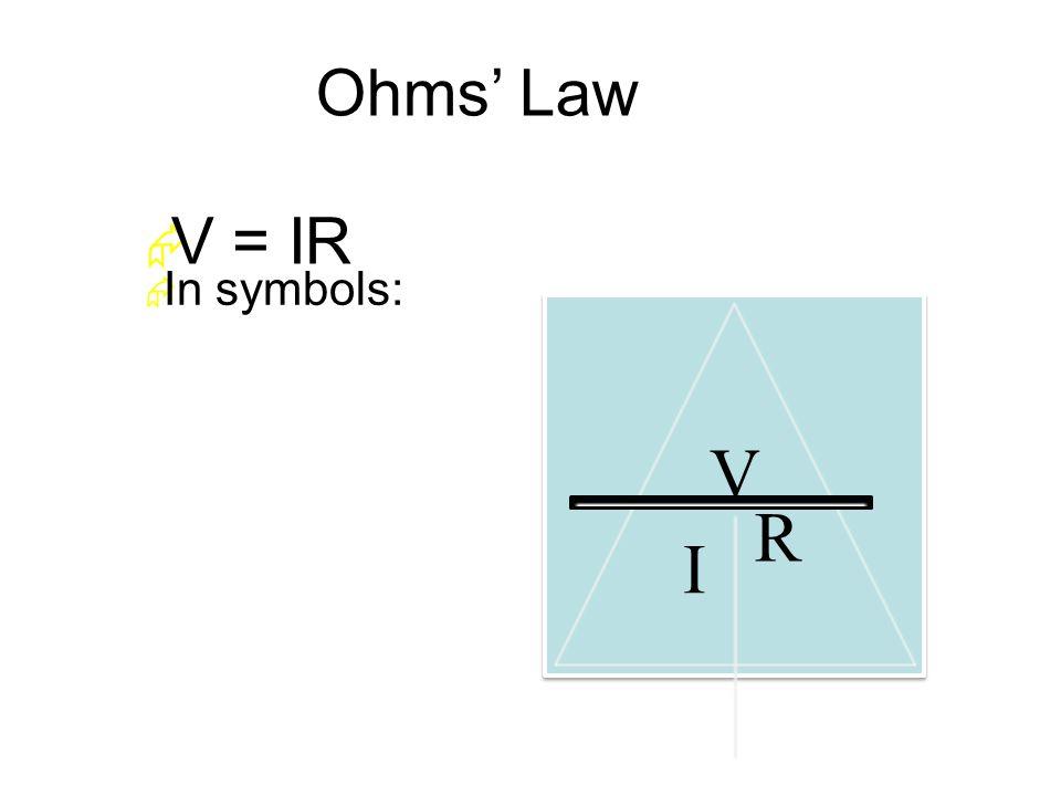 Ohms' Law  In symbols:  V = IR V I R