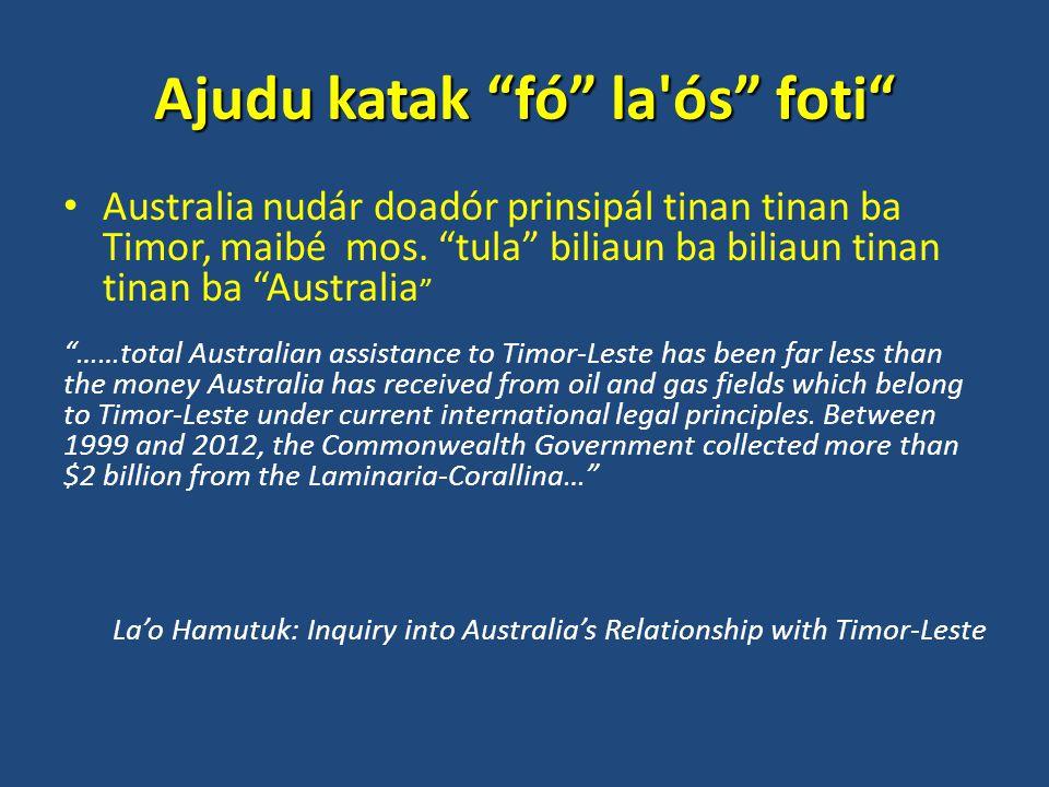 Ajudu katak fó la ós foti Australia nudár doadór prinsipál tinan tinan ba Timor, maibé mos.