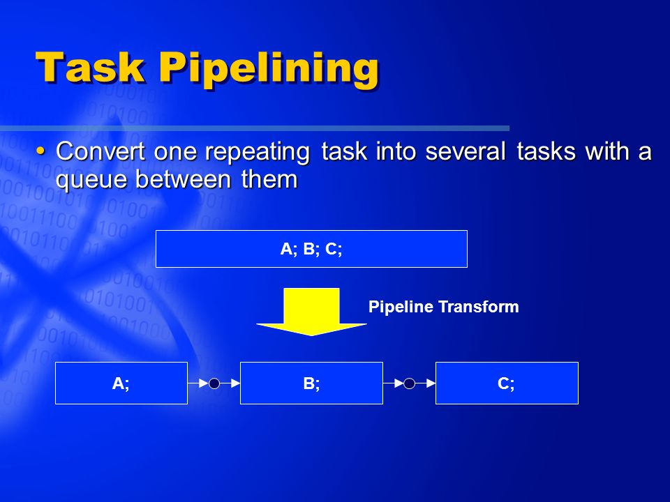 Task Pipelining  Convert one repeating task into several tasks with a queue between them A; B; C; A;B;C; Pipeline Transform