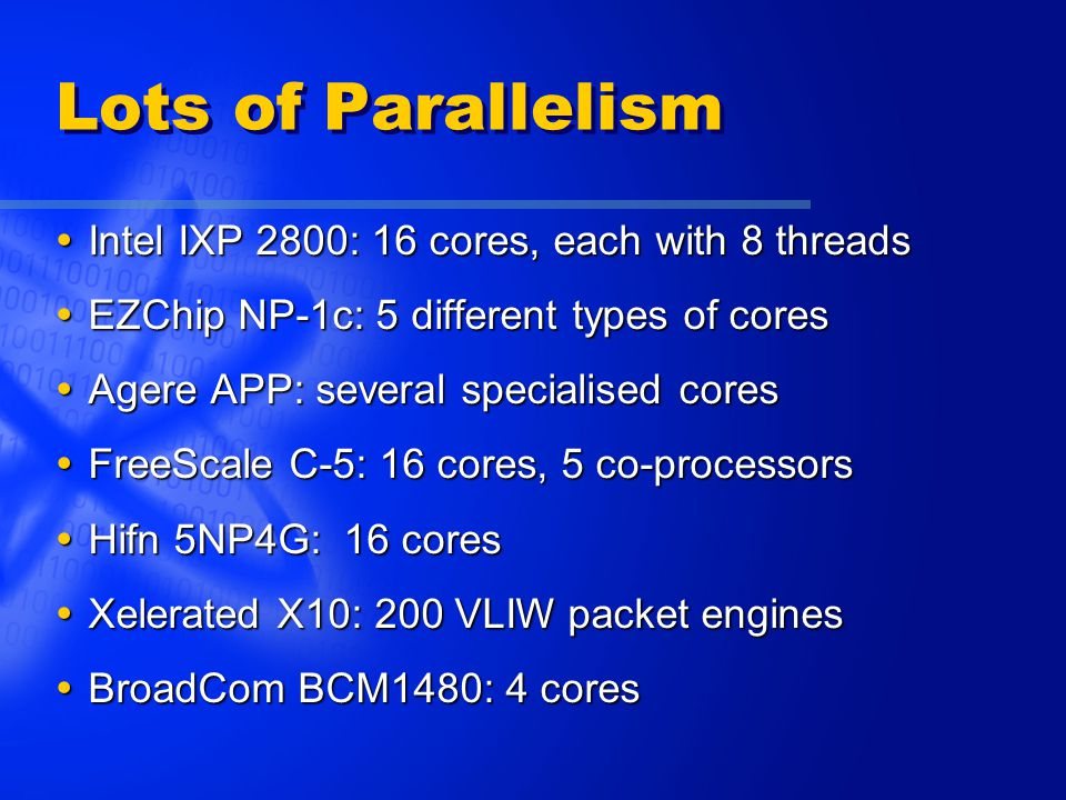 Lots of Parallelism  Intel IXP 2800: 16 cores, each with 8 threads  EZChip NP-1c: 5 different types of cores  Agere APP: several specialised cores  FreeScale C-5: 16 cores, 5 co-processors  Hifn 5NP4G: 16 cores  Xelerated X10: 200 VLIW packet engines  BroadCom BCM1480: 4 cores